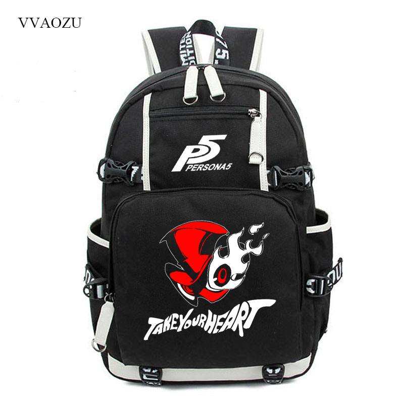 <font><b>Persona</b></font> <font><b>5</b></font> Vintage Canvas <font><b>Backpack</b></font> Large Capacity Travel School Bag Women Men College Bookbags Knapsack <font><b>Backpacks</b></font> for Students image
