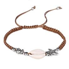 цена на Shell Sea turtle Starfish Weaved Rope Bracelet Bangles For Women Charm Handmade hand Jewelry Girl Gift DropShipping 3 colors
