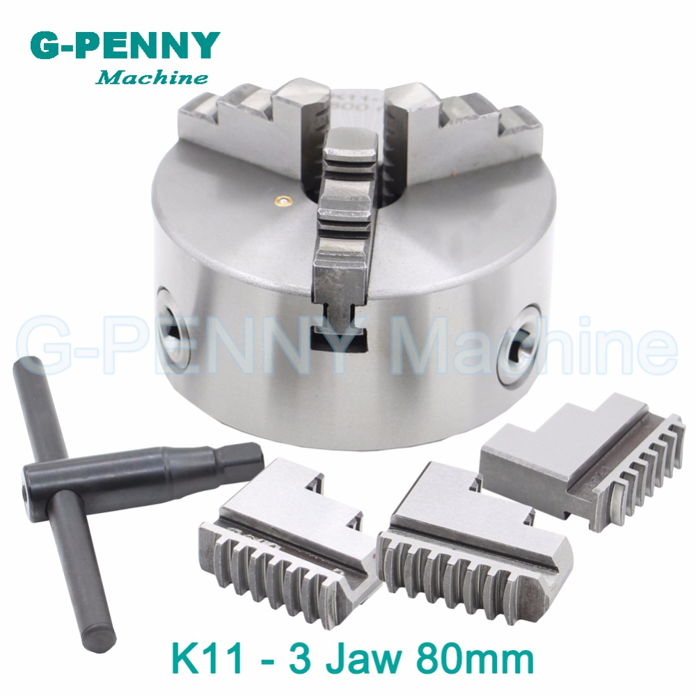 CNC 4th axis A axis 80mm 3 jaw Chuck self-centering manual chuck K11 fourth jaw for CNC Engraving Milling machine Lathe Machine fifthe 5th axis cnc dividing head a axis rotation fifth axis with chuck 3 jaw chuck cnc engraving machine