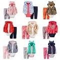 Crianças bebê bebes menino conjunto de roupas menina 3 pcs (hoodies + macacão + calças) roupas de bebe bebê recém-nascido menina conjuntos de roupas de varejo