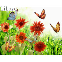LI LOYE New Style Butterfly Flowers DIY Diamond Painting 100 Full Square Drill Cross Stitch Embroidery
