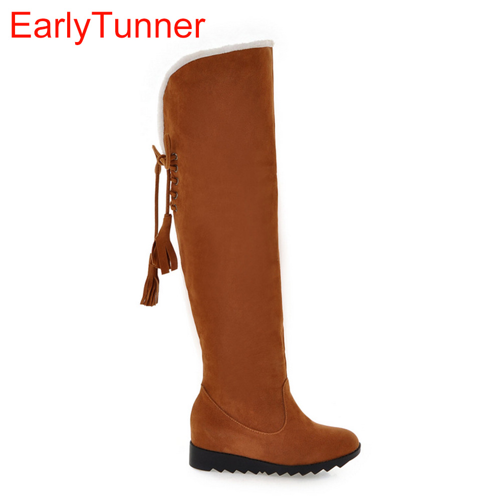 Brand New Warm Fashion Women Over the Knee Thigh High Snow Boots Black Yellow Red Lady Wedge Shoes A909 Plus Big Size 10 43 new winter women over the knee thigh high boots sweet black brown ladies shoes a181h plus big size 45 10 11 warm fur