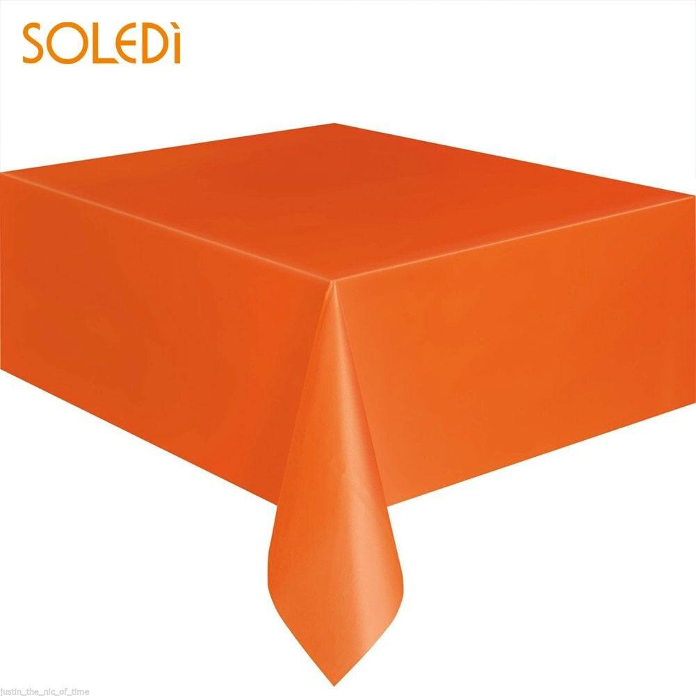 SOLEDI 20 цветов мягкий настольный бегун скатерть пластиковые товары для дома одноразовая скатерть для стола украшение стола - Цвет: orange