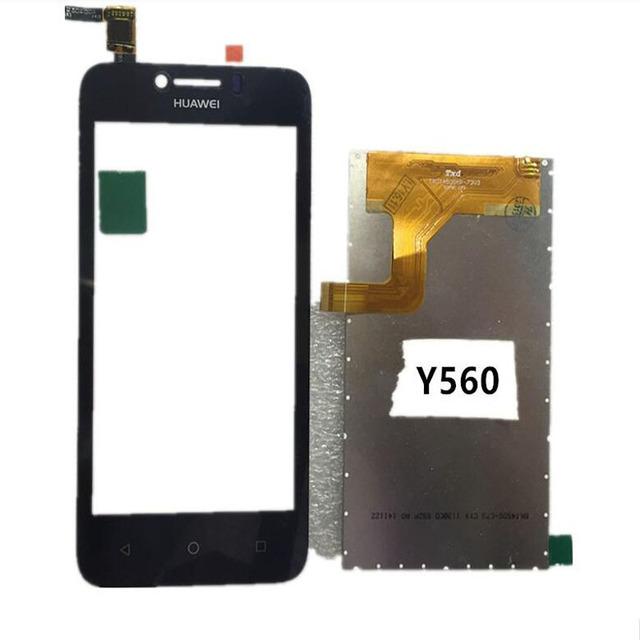 Nova tela preta toque digitador de vidro sensor + display lcd assembléia replacements tela do painel para huawei y5c y560