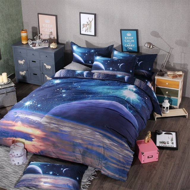 3d galaxy bedding sets twinqueen size universe outer space themed bedspread bed linen bed - Galaxy Bedding Set
