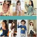 2 Unids/set Niños Pijamas Ropa Interior de Abrigo Infantil de Los Niños Muchachas de Los Bebés Pijamas de Invierno de Dibujos Animados Ropa de Dormir CE172