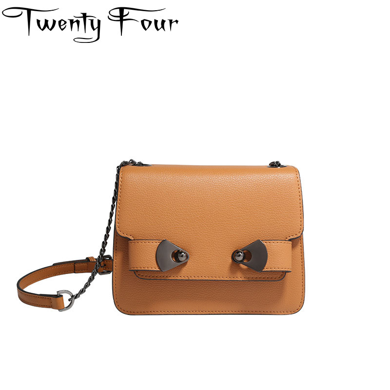 Twenty-four Real Leather Women Small Chain Lock Bag Women Mini Cover Shoulder Messenger Bag Handbag Femininas Bolsas Solid Bag