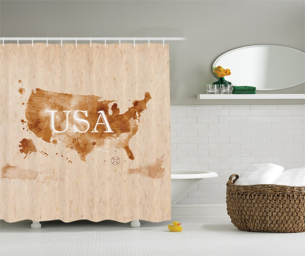 Early American Retro Map of the Country Southwest and Alaska Image, Polyester Fabric Bathroom Shower Curtain Set with Hooks