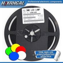 1 بكرة 3000 قطعة 1206 SMD LED الثنائيات ضوء أصفر أحمر أخضر أزرق أبيض جديد وأصلي fjxrhغال