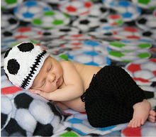 Newborn Baby Knitted Photography Props Hat Clothing Set Infant Football Baby Handmade Knit Crochet Costume Outfit Birthday Gift