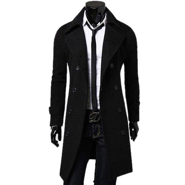 De Fashon Hombres Gabardina de lana Cruzado Gabardina Larga para hombre de las chaquetas y abrigos de invierno para hombre abrigos abrigos Envío Libre