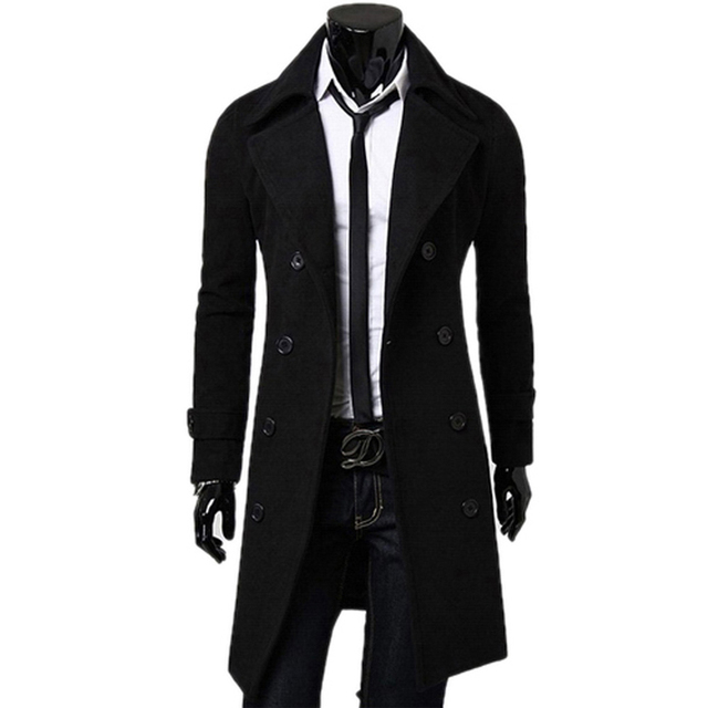 Fashon Trench Coat Men wool Double Breasted Coat Long Trench mens ...