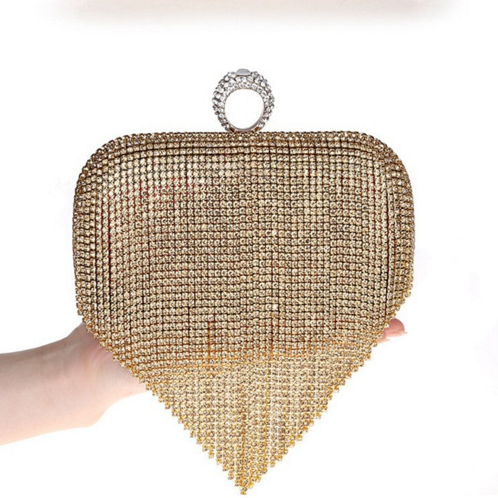 Glitter Hasp Ring Beaded Tassels Purses Rhinestones Crystal Evening Handbag Clutch Weding Bags Mini Party Club Bag 81-29