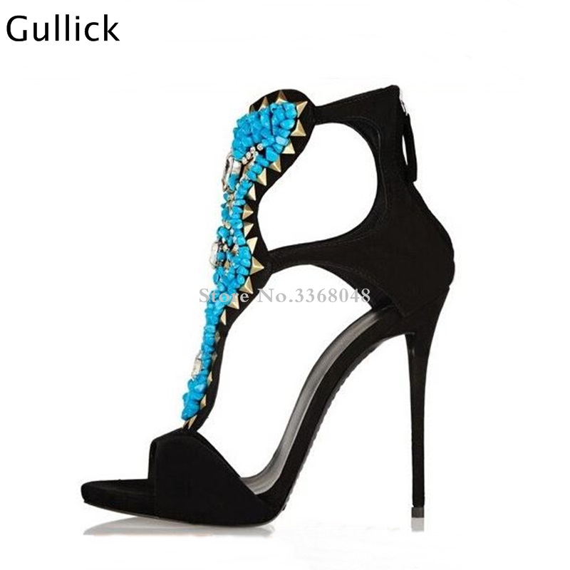 New 2018 Summer Velvety Black Suede Sandals Back Zipper Blue Stones and Crystal Sandals Open Toe Cut-out Ankle Bootie Size 35-43New 2018 Summer Velvety Black Suede Sandals Back Zipper Blue Stones and Crystal Sandals Open Toe Cut-out Ankle Bootie Size 35-43