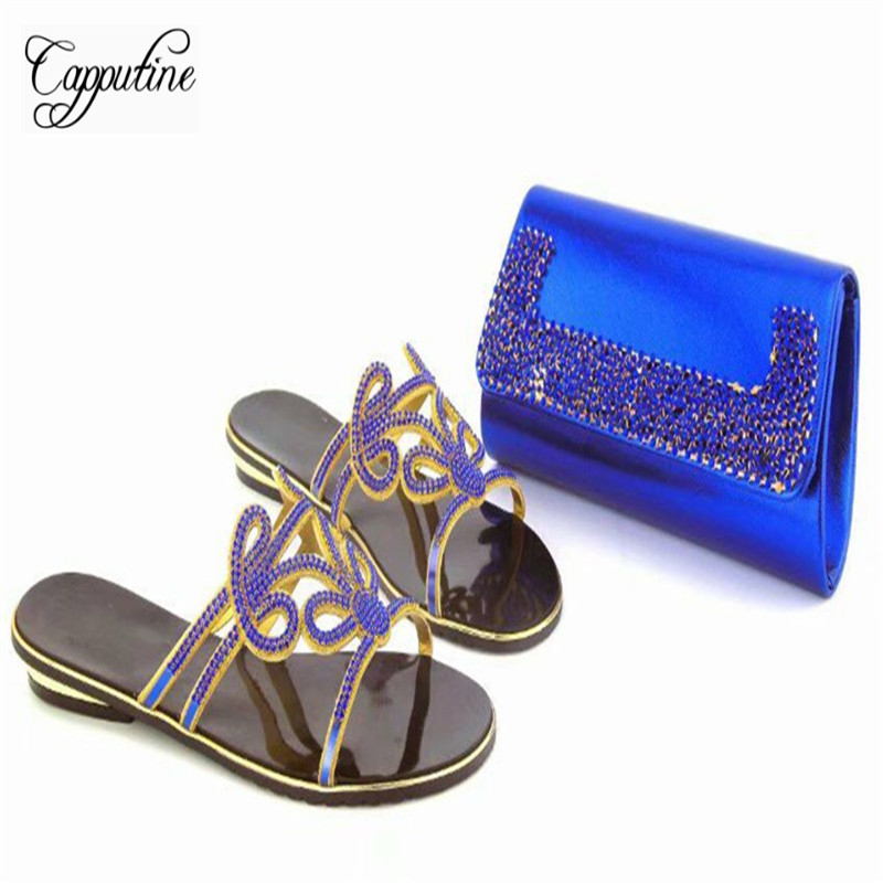Capputine African Woman Shoes And Bag Sets New Summer Italian Rhinestone Shoes And Matching Purse Set For Party Shipping DHL