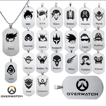 hot saleOverwatch Pendant Necklace anime FPS GAME All heroes log tracer reaper widowmaker Hanzo Metal OW necklaces jewelry