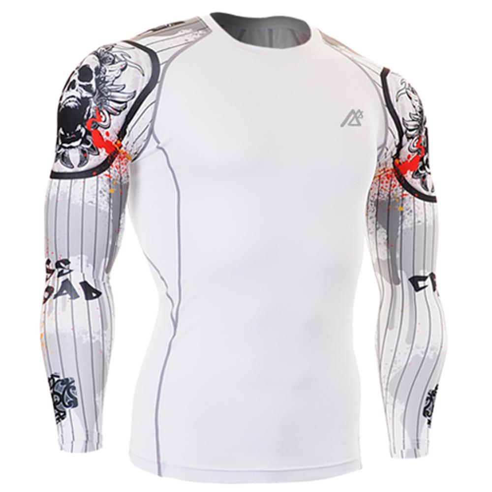 2017 compression wear white 3d t-shirt mens polyester spandex t shirts muscle fit t shirt sport clothes