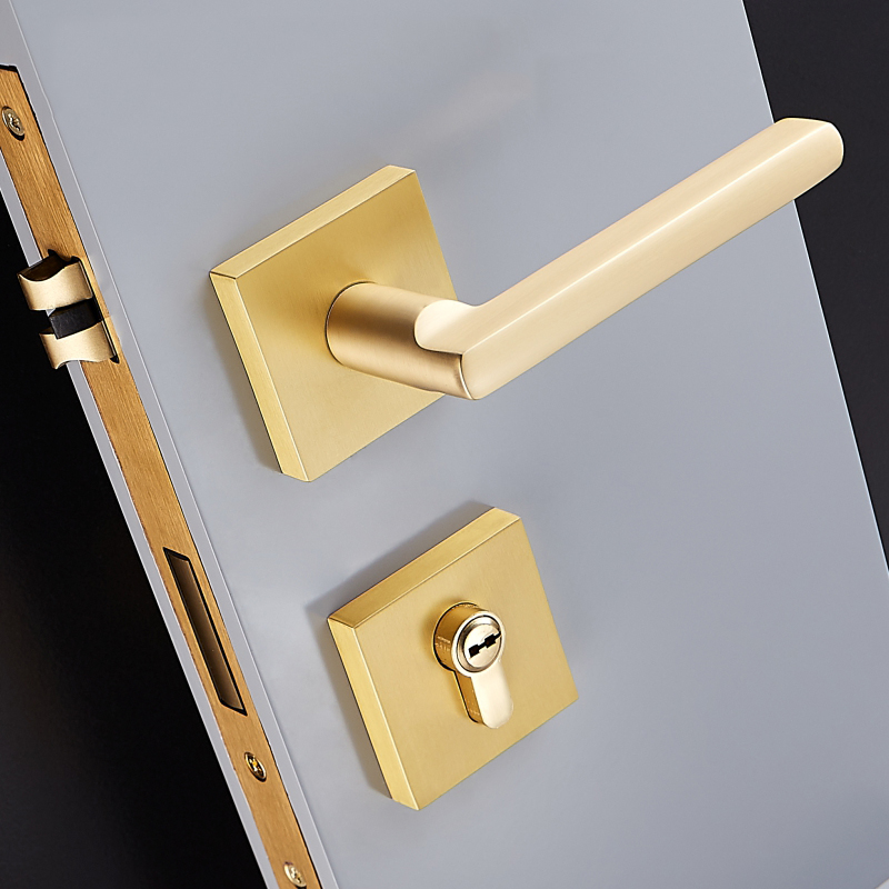 Modern/ Mute Room Brass Door Lock Handle Fashion Interior Square Door Lock  Anti Theft Gate Lock Furniture Hardware