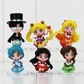 6 Pçs/lote Anime Sailor Moon Mars Mercury PVC Brinquedos Action Figure Collectible Modelo Bonecas Brinquedos 4.5-6.5 cm