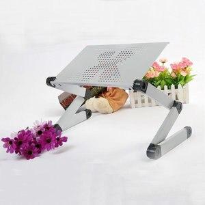 Image 3 - מחשב נייד מתכוונן עומד שולחן עם משטח עכבר & קירור מאוורר נייד מיטת ספת שולחן מחברת מתקפל שולחן עבור משרד