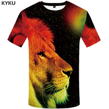 ca1c3b39b4 KYKU marki Galaxy Shirt lew T-shirt ubrania dla zwierząt 3d druku T Shirt  mężczyźni