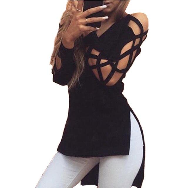 Stylish Harajuku Hollow Sleeve Sexy T Shirt Women Short Front Long Back Female Tops Kawaii Split Cool T-shirt Women Cut Out