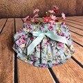 2016 Nuevo 1x100% Algodón Rosa Flor Cortocircuitos Del Bebé para Bebé Ropa Niñas Bowknot Faldas de Volantes Ropa Interior Recién Nacido Cubierta del pañal