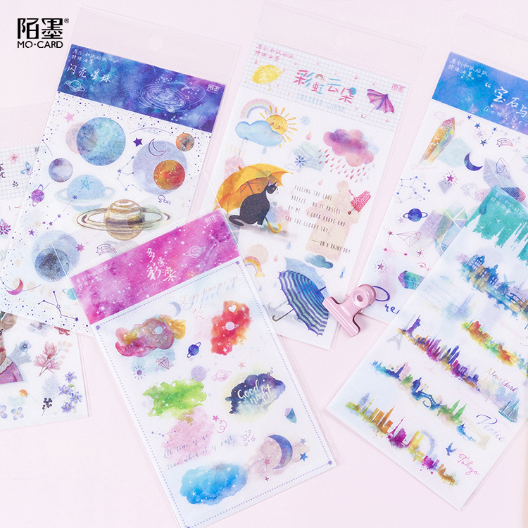 2 Pcs/pack Shining Star Decorative Washi Stickers Scrapbooking Stick Label Diary Stationery Album Special Paper Stickers