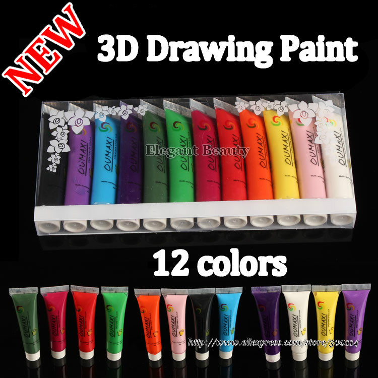 Aliexpress Com Buy Wholesale New Acrylic Uv Gel Design 3d Paint Tube Nail Art Pen 12 Colors