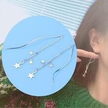 Fashion Women Earrings 2019 Cute Metal Star Water Wavy S Type Ear Line For Accessories Long Dangle Gift