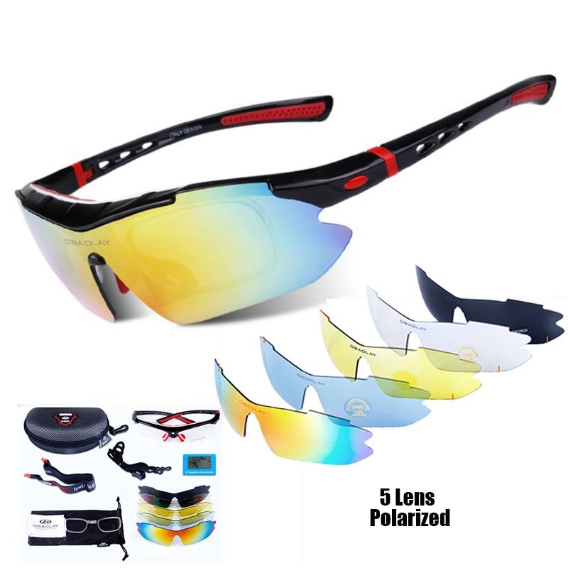 Profesionāli polarizēti riteņbraukšanas brilles Bike Goggles Āra sporta velosipēdu saulesbrilles UV 400 ar 5 objektīva riteņbraukšanas brilles