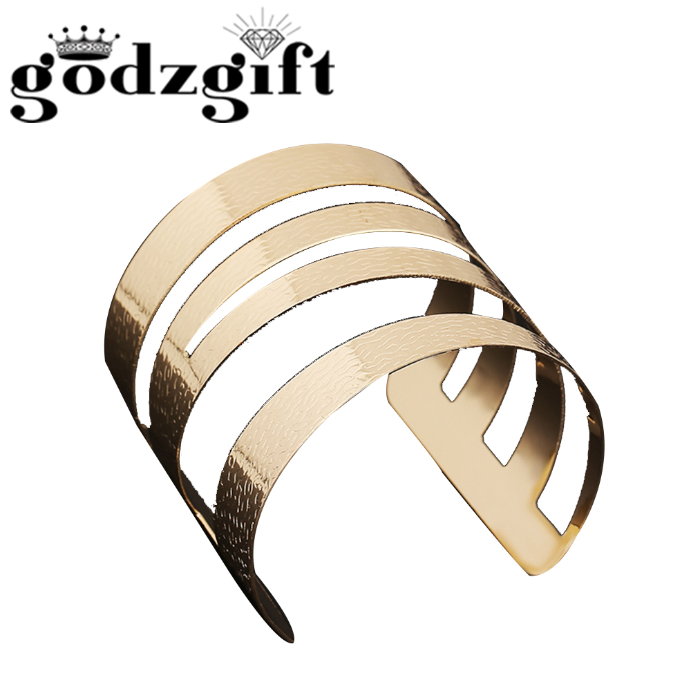 Godzgift Women Vintage Royal Line Intersect Bracelets Girls Modern Jewelry Gifts For Lady Chic Ornament New Tribe Hollow JB5020