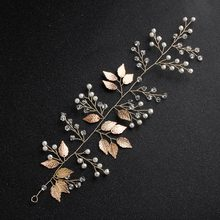 Gold Leaf Leaves Headbands Bride Wedding Bridesmaid Crystal Pearl Hair Vine Wedding Decoration Gift Hair Jewellery Accessory(China)
