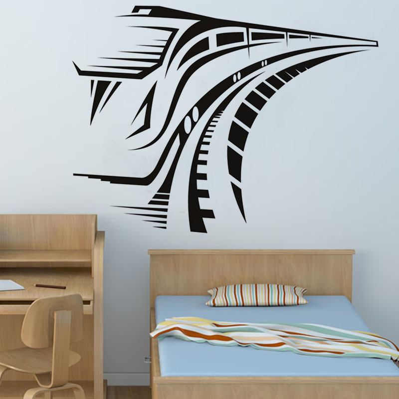 PVC Removable Running Speed Train Wall Sticker Kids Bedroom Decorative Transportation Wall Decal