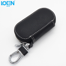 Mini Key Wallet Leather Key Holder Zipper Cover Keychain Cases Holder Housekeeper Keys For Honda Chevrolet Hyundai Toyota Volvo
