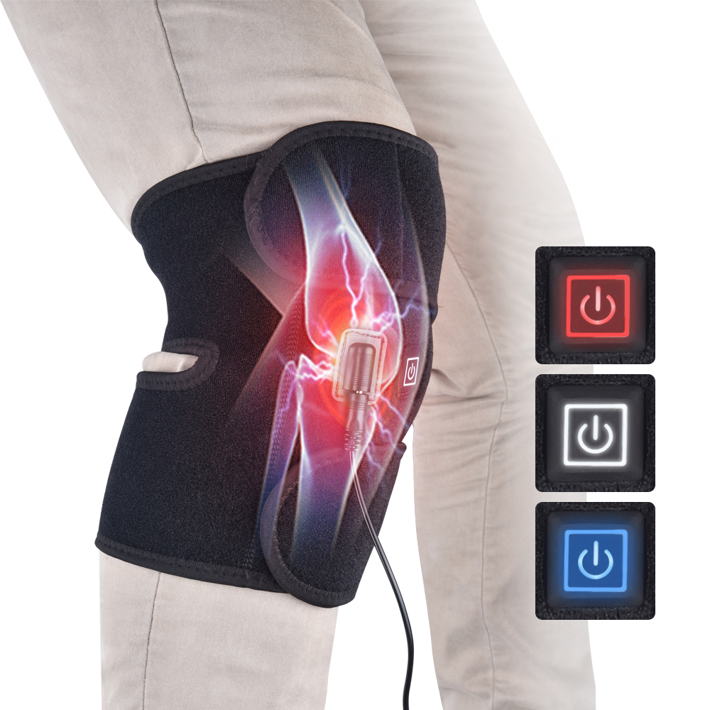 Electric Knee Protection Heating Massager Pads Therapy Adjustable Brace Support Belt Arthritis Relieve Knee Pain 3 Heating Gear
