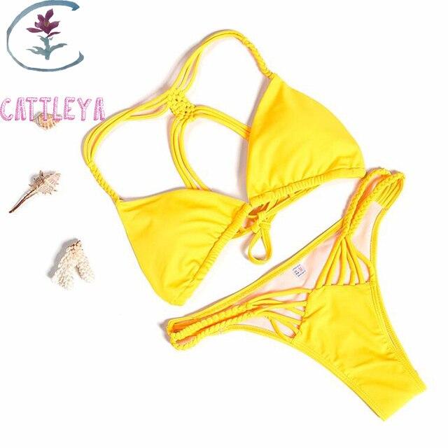 b19cfe1059 CATTLEYA Brand Summer Sexy Tie Dye Bikini Women Swimwear Bikini Maio Praia  Yellow Color Swimsui MYY