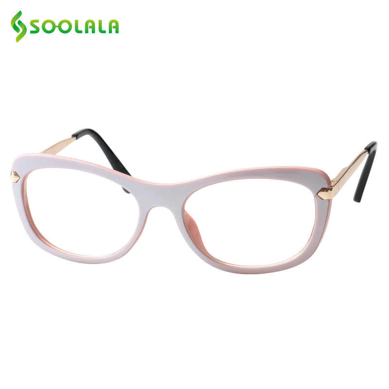 8940208d07d0 SOOLALA Reading Glasses Women Men Fashion Eyeglass Frame Contrast Color Spring  Hinged Prescription Reading Glass +