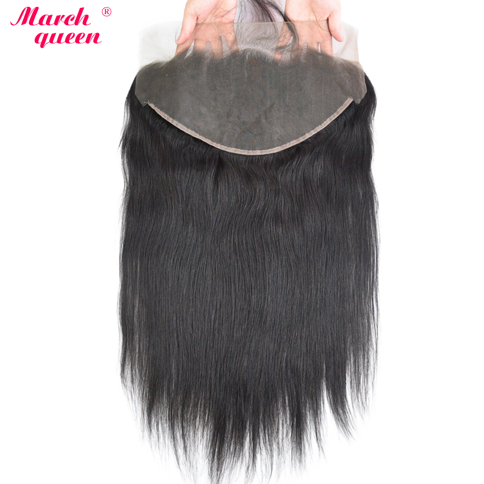 March Queen 13x6 Lace Frontal Closure With Baby Hair Raw Indian Human Hair Pre Plucked Straight