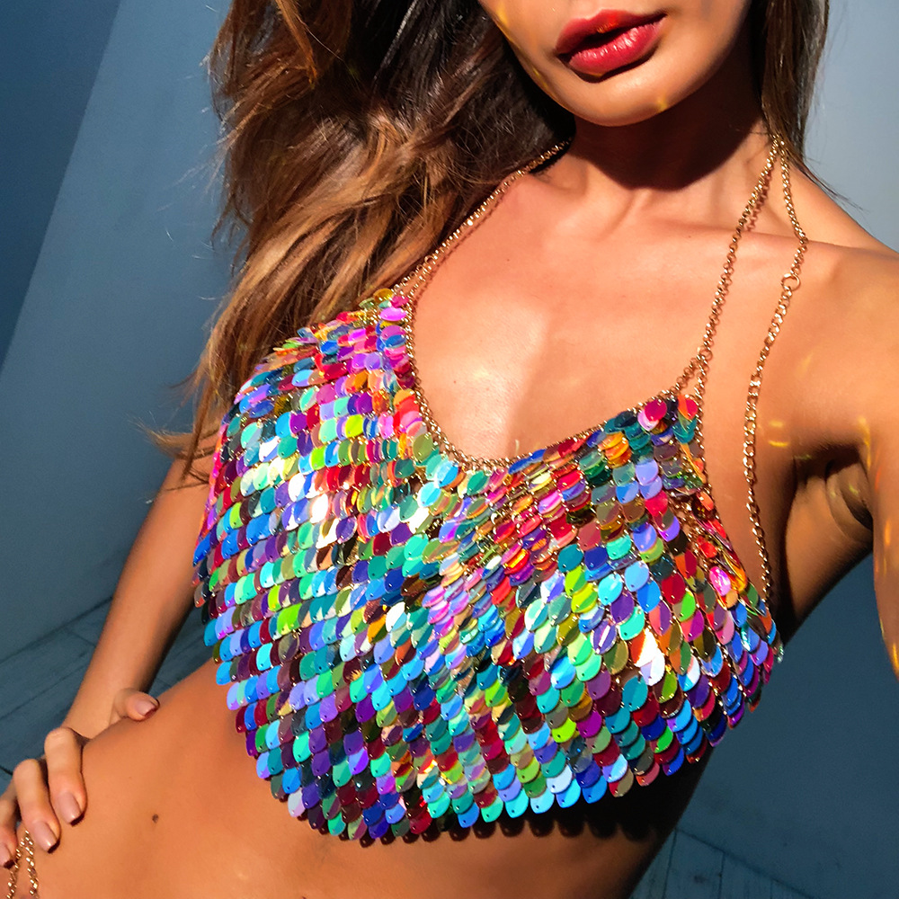 Handmade Bling Colorful Sequined Crop Tops Halter Sleeveless Low Cut Backless Sexy Women Tank Top Club Party Adjustable Tops