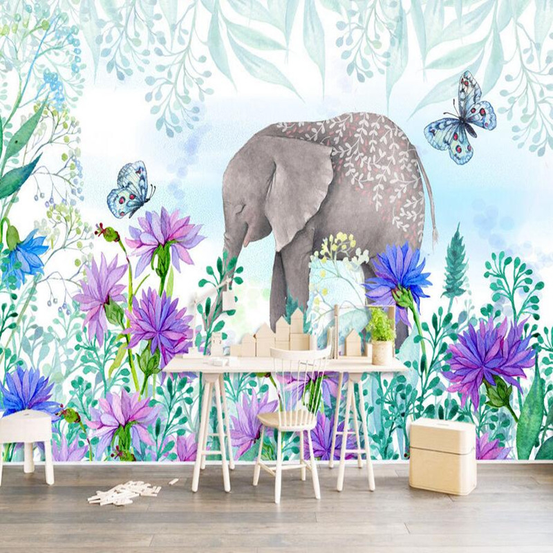 3D Photo Custom Wallpaper Nordic Fresh Hand Painted Wall Papers Flowers Elephant Wall Mural Wallpaper Home Decor Wall Paper 3d photo custom wallpapers stereoscopic green rattan white tv wallpaper leaf wall mural wallpaper home decor wall paper