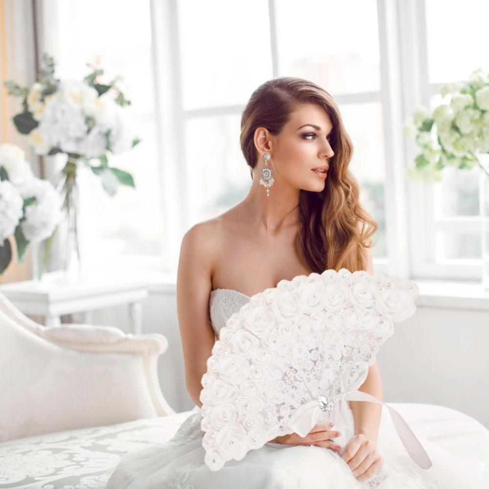 High Quality Bride Handheld Fan Lace Rose Fans Non-foldable Fan Wedding Party Supplies Photo Shoot Props Wholesale