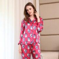 100% шелк пижамы Для женщин пижамы мода плед печати с длинным рукавом пижамы брюки наборы чистого шелка Домашняя одежда женский T8007