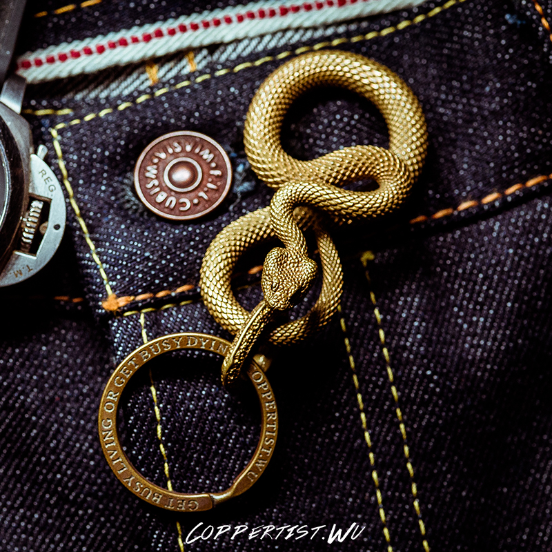 Coppertist Wu snakes bronze keychain brass handmade key chain gold fashion animal snake key ring HandBag Pendant punk rock in Key Chains from Jewelry Accessories