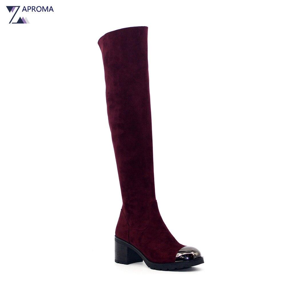 Rojo gamuza botas mujeres ronda del alto talón del dedo del pie sobre las rodilla Botas de invierno msAun0P