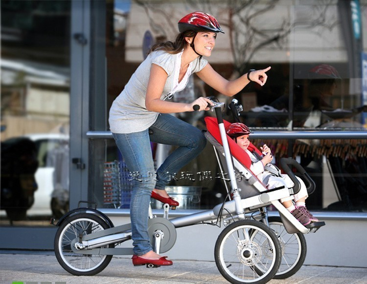 "3 Wheels 16"" Pushchair 16inch Folding Mother Baby Stroller Bike Pushchair-Bicycle Baby Strollers 3 in 1"