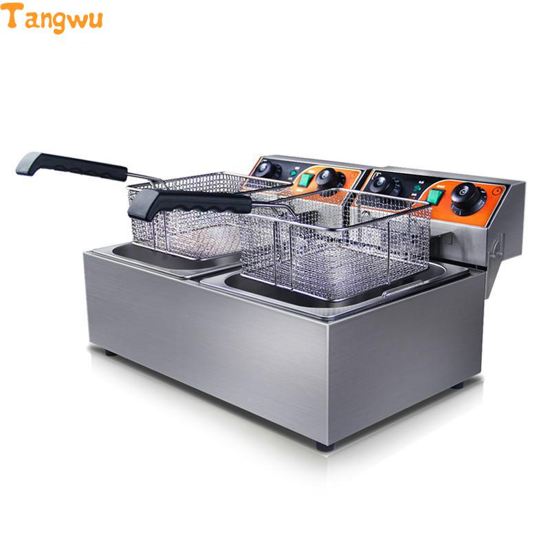 Free shipping With timing duplex frying machine electric fryer blast furnace Fried chicken fries commercial Electric fryer free shipping duplex cooking noodles furnace malatang electric fryer blast multi function equipment