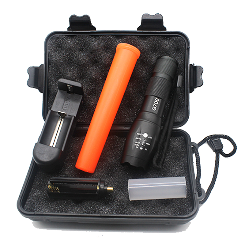 Led Linterna Cree XML T6 3800lm Senter Yang Kuat Tahan Air Lampu Lentera Senter Polisi Merah Tongkat + Charger + Kotak Hadiah