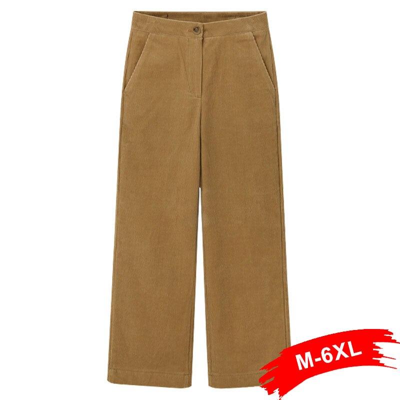 Plus Size Women Corduroy   Wide     Leg     Pant   Pantalon Mujer 3Xl 5Xl Button Fly Loose Straight Trousers Casual Sweatpants