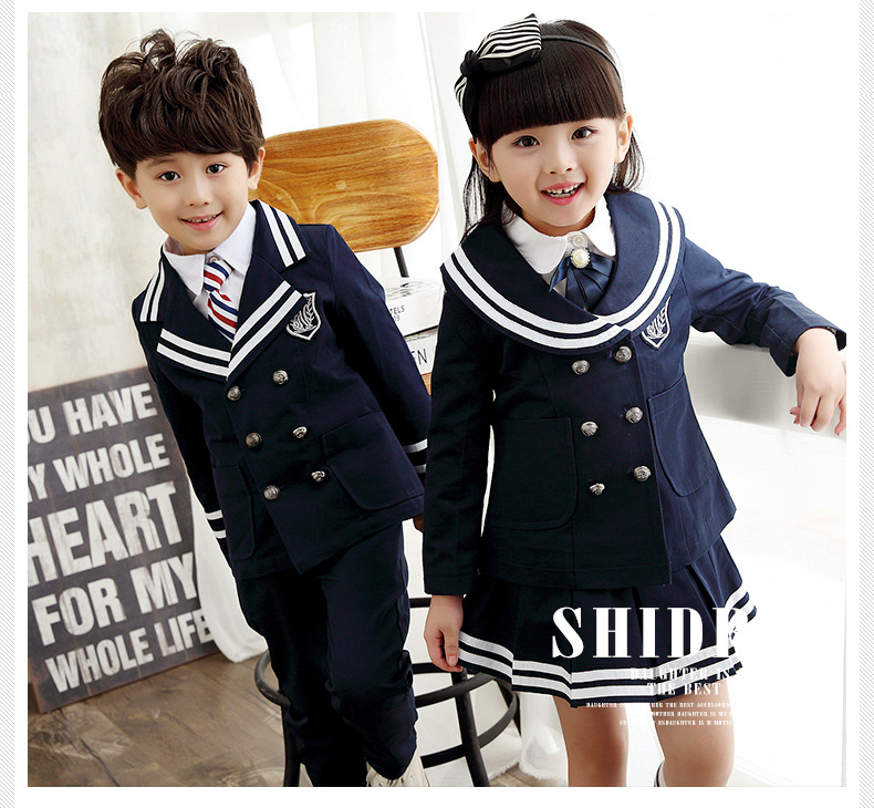 2017 New Korea Student Uniform Girls/boys School Uniforms Set children's long sleeved chorus of primary school students reading
